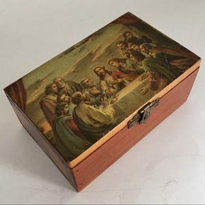 The Last Supper Cedar Trinket Box Vtg 70s Souvenir